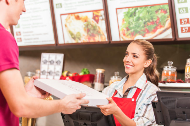 Food service worker and customer