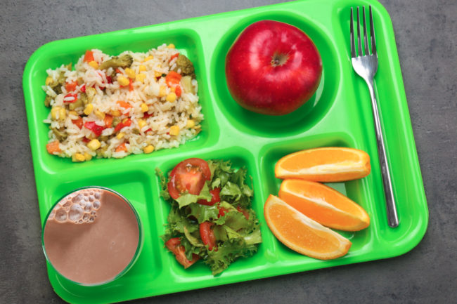 School lunch with chocolate milk