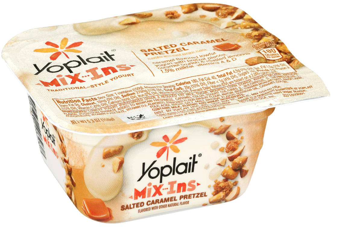 General Mills Yoplait and its Mix-Ins Yogurt and Salted Caramel Pretzels