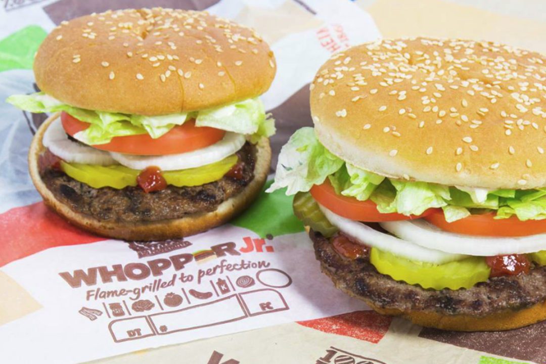 Burger King Whopper and a Whopper Jr.