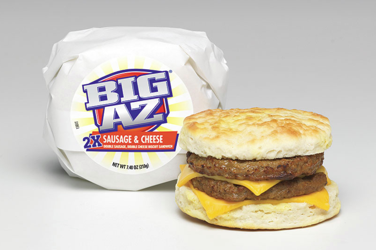Tyson Foods' Big Az sausage and cheese breakfast sandwich