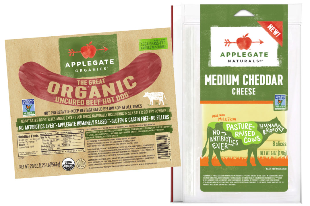 Applegate hot dogs and cheese