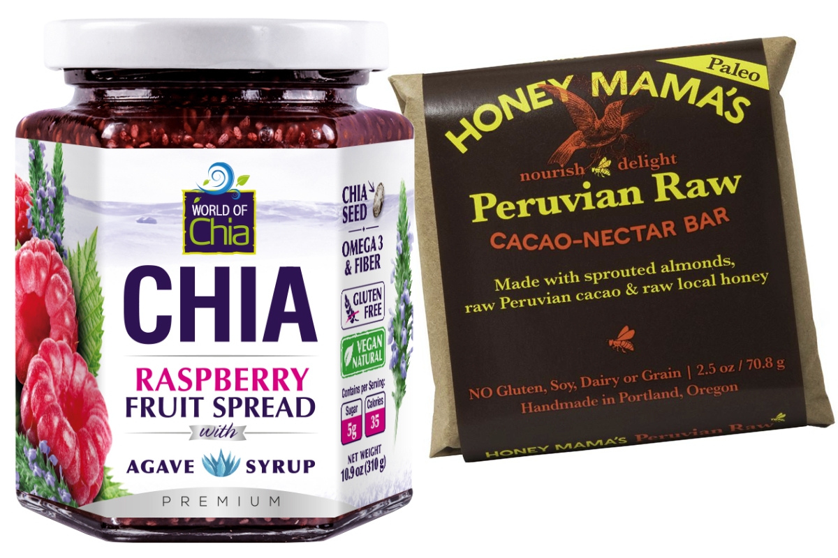 World of Chia raspberry fruit spread and Honey Mama's Peruvian Raw cacao-nectar bar