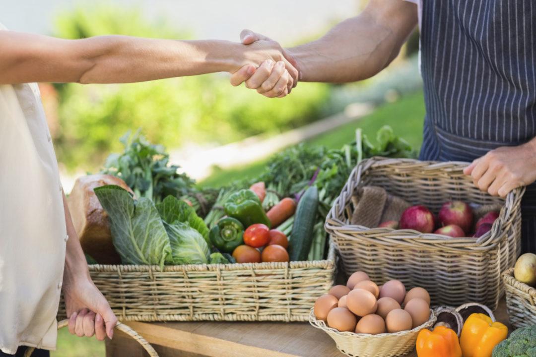 Farmer selling produce