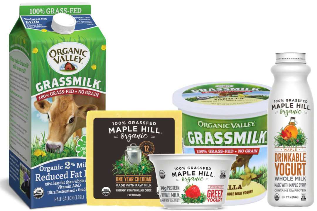 Organic Valley, Maple Hill grass-fed dairy products