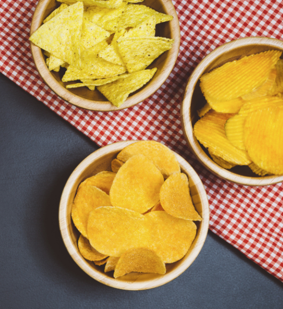 Potato chips and tortilla chips