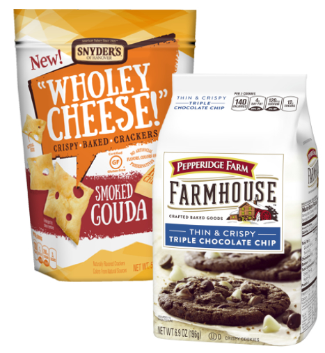 Snyder's of Hanover Wholey Cheese crackers and Pepperidge Farm Farmhouse Cookies