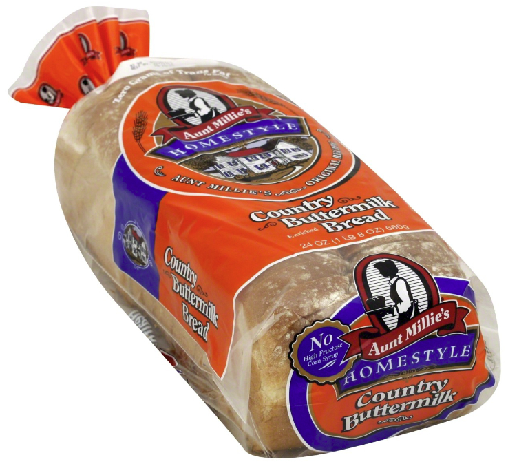Aunt Millie's country buttermilk bread with no high-fructose corn syrup