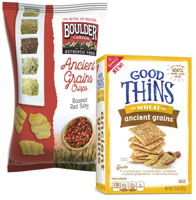 Boulder Canyon ancient grain snacks and Good Thins ancient grains