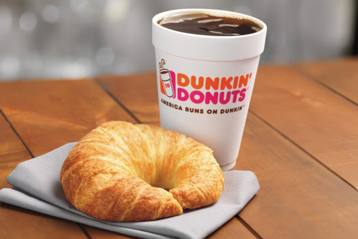Dunkin Donuts coffee and croissant