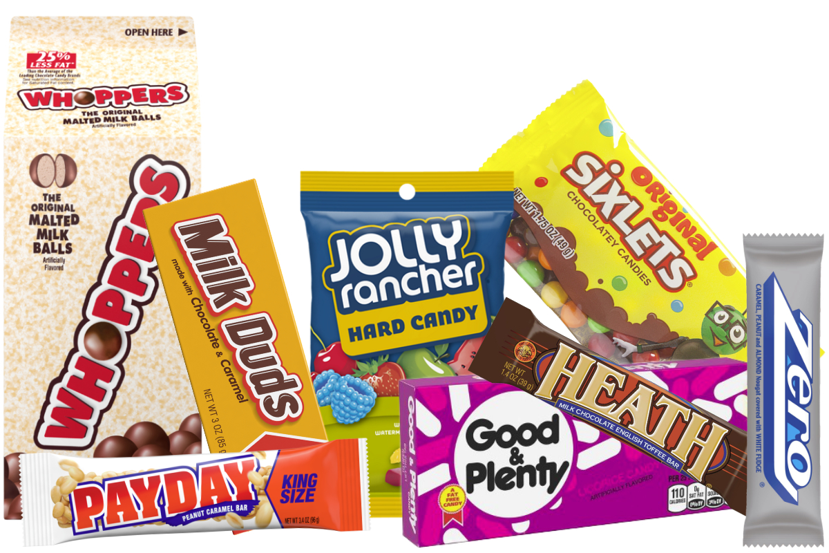 Jolly Rancher, Payday, Whoppers, Heath, Milk Duds, Sixlets, Good & Plenty, Zero, Chuckles and Good & Fruity