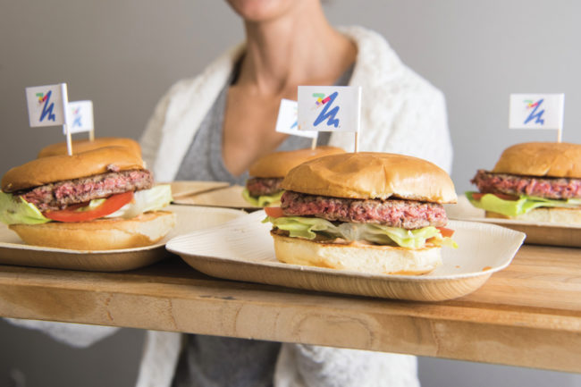 Impossible Burgers on tray