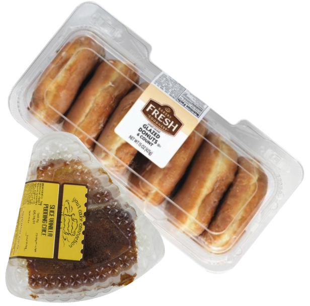 Kroger single-serving cake slices and six-count donut packages