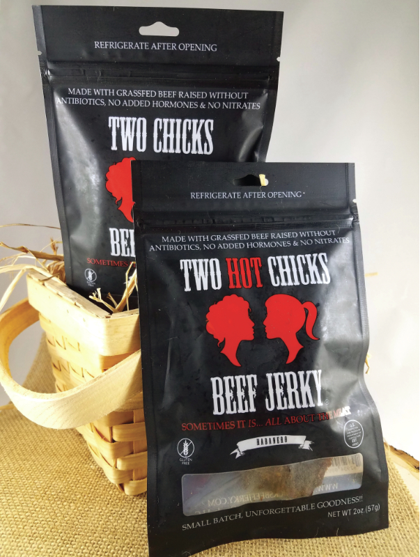Two Chicks Beef Jerky bags