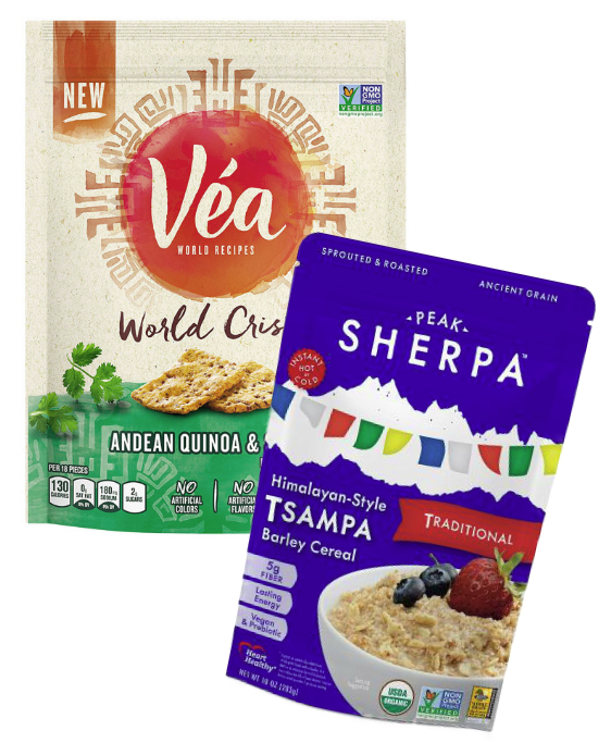 Vea ancient grain crackers and Tsampa cereal