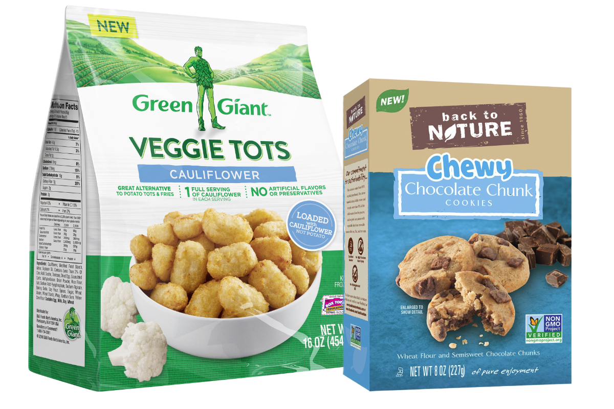 Green Giant Veggie Tots and Back to Nature cookies