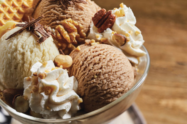 Ice cream topped with nuts