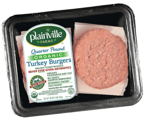 Plainville Farms turkey burgers, Hain Celestial