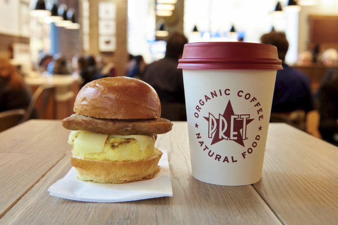 Pret A Manger coffee and breakfast sandwich