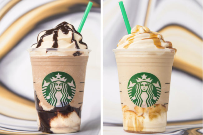 Starbucks Ultra Caramel Frappuccino and Triple Mocha Frappuccino