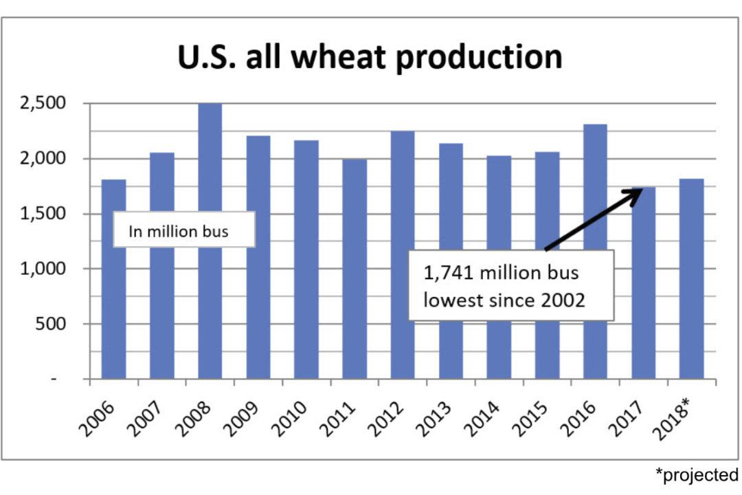 U.S. all wheat production chart
