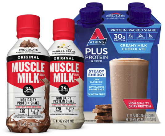 Dairy protein products - Muscle Milk and Atkins