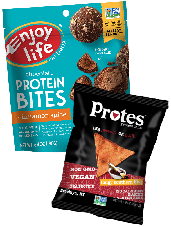 Enjoy Life protein bites and Protes protein chips