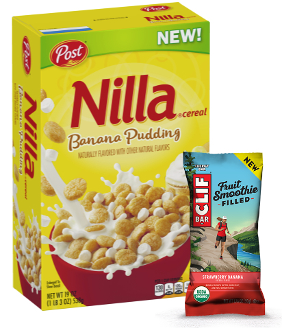 Nilla Banana Pudding cereal and Clif Strawberry Banana bar