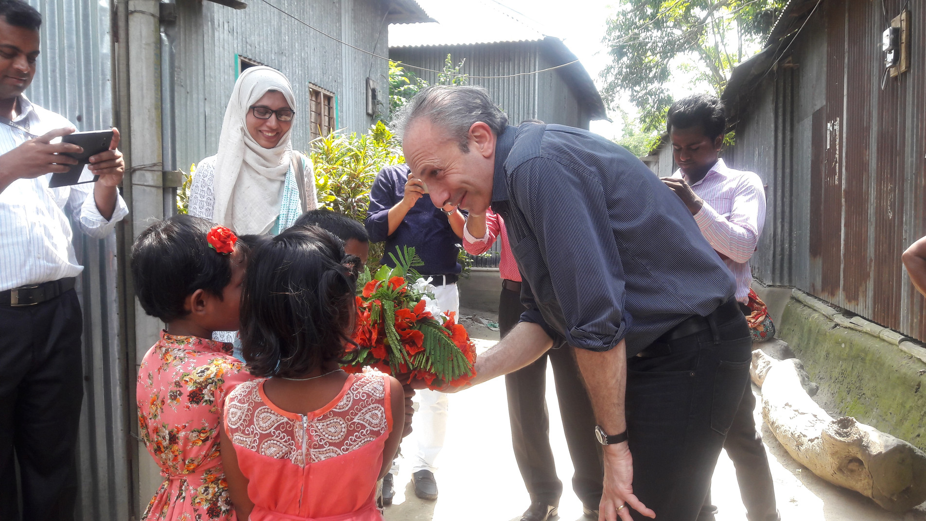 Dr. Lawrence Haddad meeting people in Bangladesh