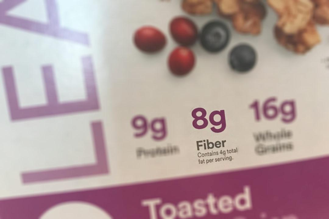 Fiber label on cereal box
