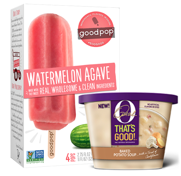 Oprah O That's Good Baked Potato Soup and Goodpop Watermelon Agave ice pops