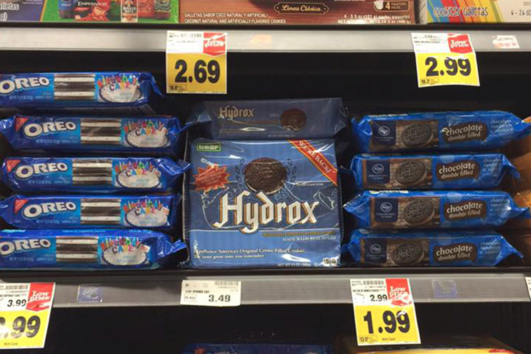Hydrox and Oreo cookies on shelves