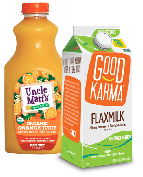 Good Karma flax milk and Uncle Matt's Organic orange juice, Dean Foods