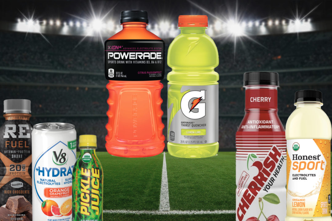 Sports beverages on soccer field