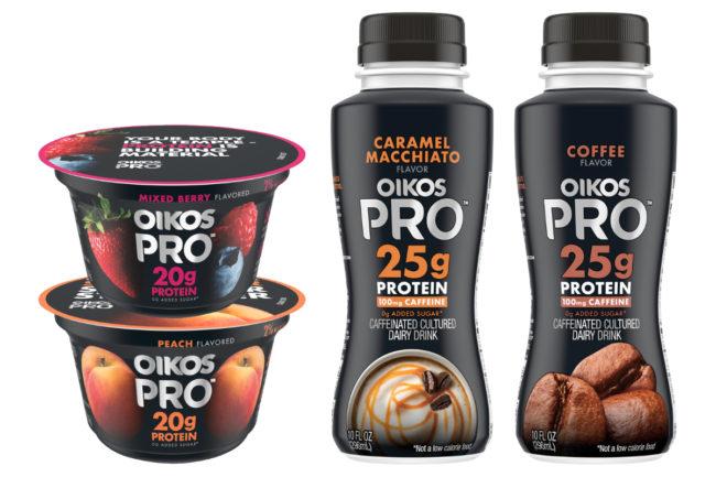 Danone Oikos Pro yogurt cups and drinks