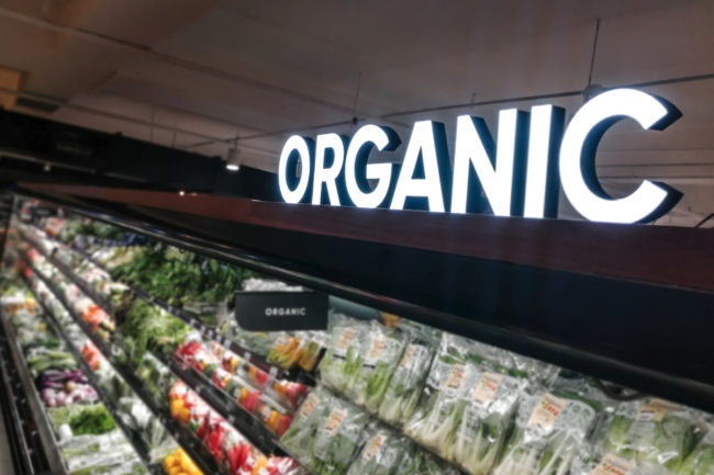 Organic produce section