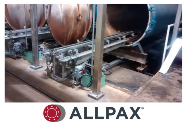 AllTrax telescoping retort loader by Allpax