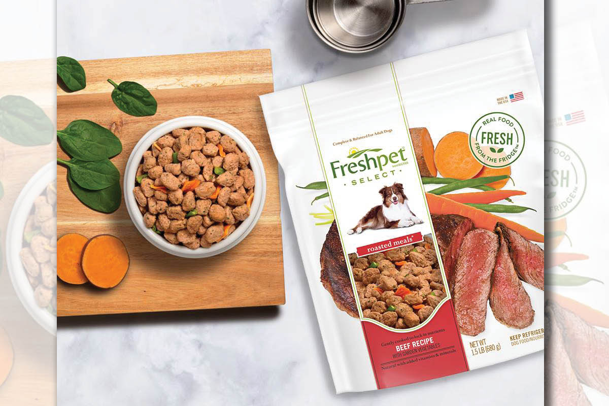 Freshpet roasted food in bowl with package