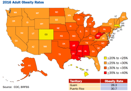 Adult obesity rate up in four states, level in rest