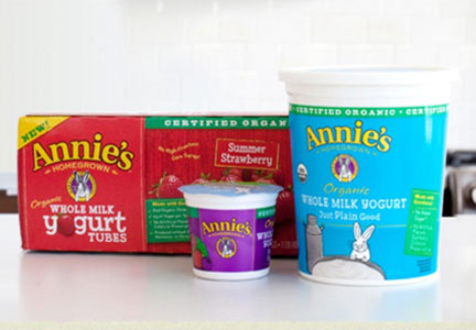 Annie's whole milk yogurt tubes and tubs,  General Mills