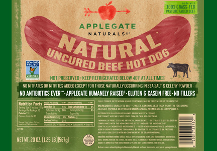 Applegate Non GMO Project verified hot dogs