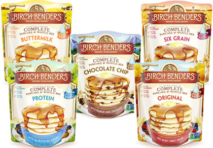 Birch Benders new line of 24-oz mixes in original, buttermilk, chocolate chip, six-grain and protein