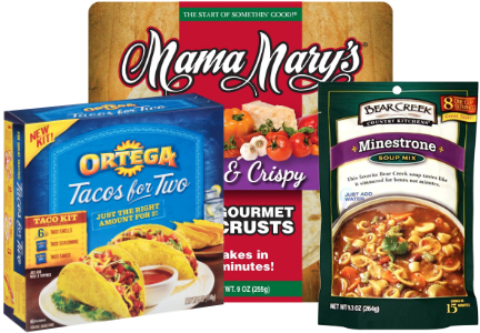 B&G Foods brands - Ortega, Bear Creek, Mama Mary's