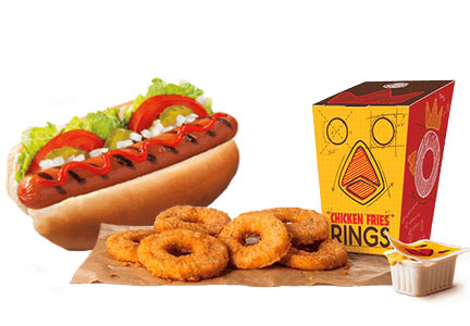 Burger King chicken fries rings, Whopper dog