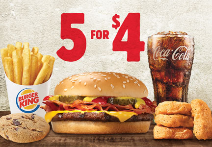 Burger King 5 for $4 value menu