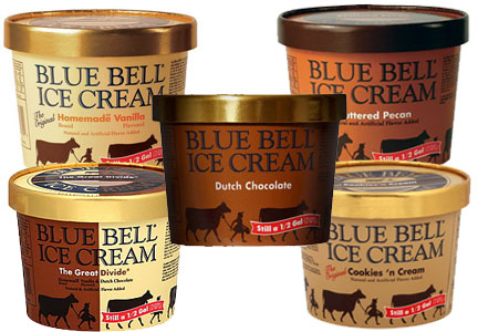 Blue Bell ice cream, Buttered Pecan, Cookies 'n Cream, Dutch Chocolate, Homemade Vanilla and The Great Divide