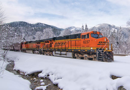 BNSF railway in the snow