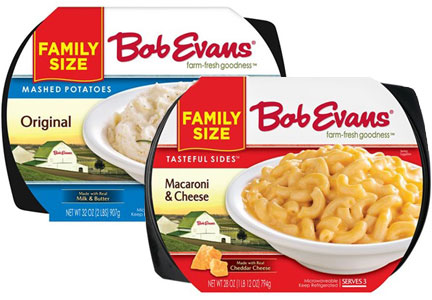 Bob Evans retail refrigerated side dishes - mashed potatoes and macaroni and cheese