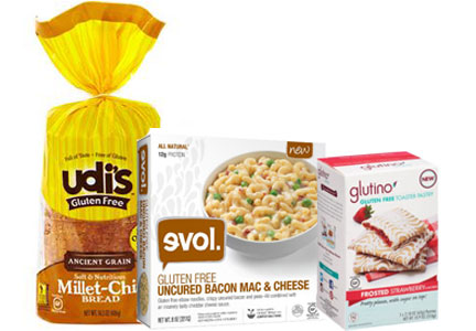 Boulder Brands gluten-free products, Udi's gluten-free bread, Evol gluten-free mac and cheese, Glutino gluten-free toaster pastry, Pinnacle Foods
