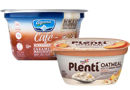 Plenti Greek Yogurt Meets Oatmeal, Alpina Cafe Selections yogurt